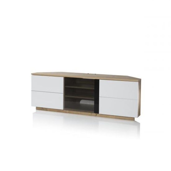 Adele Corner TV Stand In Oak With Glass And White Gloss Doors
