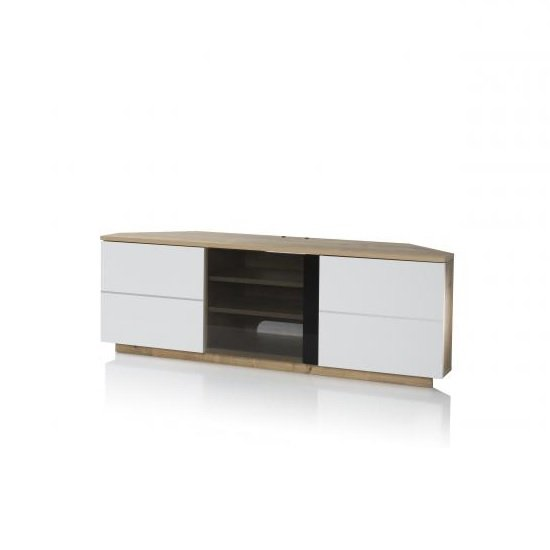 Adele Corner Tv Stand In Oak With Glass And White Gloss