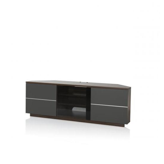 Image of Adele Corner TV Stand In Walnut With Glass And Matt Grey Doors