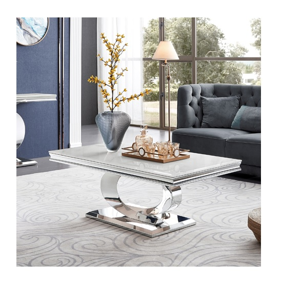 View Adele marble coffee table in white with polished metal legs