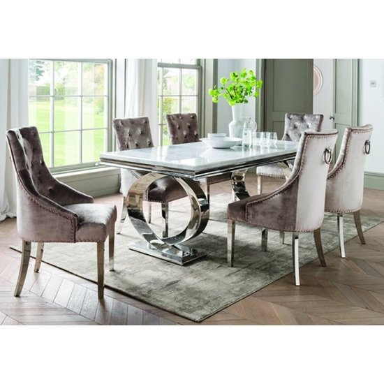 View Adele marble dining table with 6 enmore champagne chairs