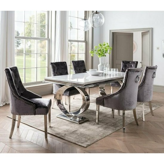 View Adele marble dining table with 6 enmore charcoal chairs
