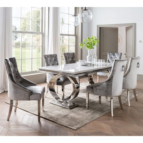 View Adele marble dining table with 6 enmore pewter chairs