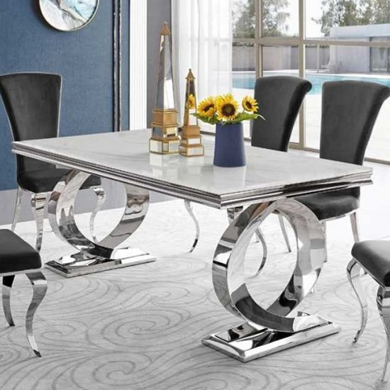 Adelene Marble Dining Table In White With Polished Metal Legs