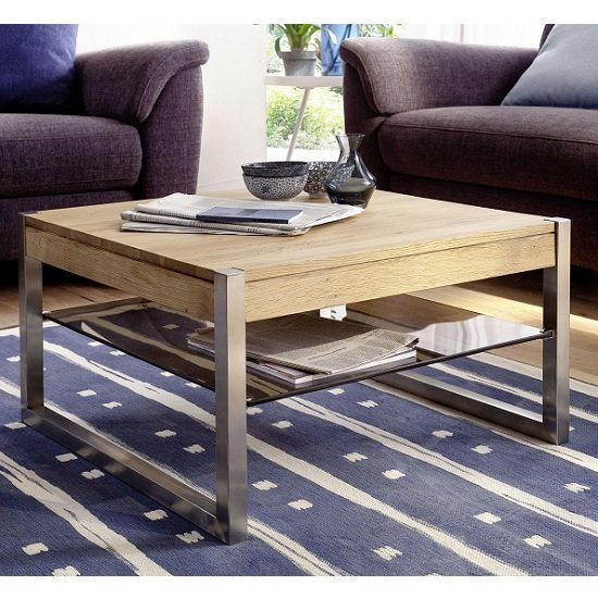 Adelia Wooden Coffee Table In Knotty Oak With Glass Shelf