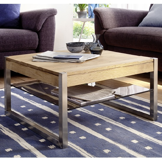 Adelia Coffee Table Square In Solid Oak With Metal Legs