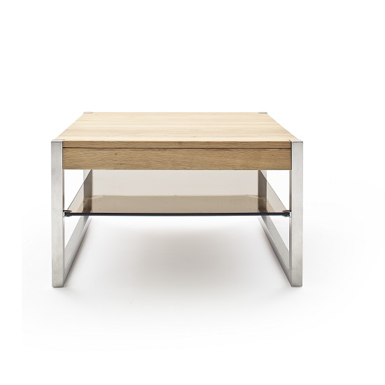 Square Coffee Table Metal Legs: Adelia Coffee Table Square In Solid Oak With Metal Legs