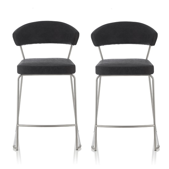 Adelina Retro Bar Stool In Black Faux Leather In A Pair
