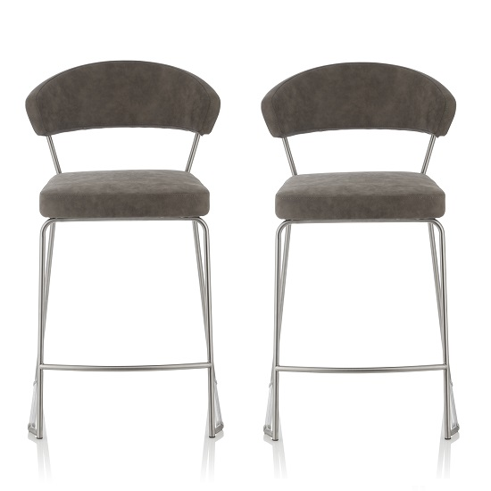 Product photograph showing Adelina Retro Bar Stool In Grey Faux Leather In A Pair