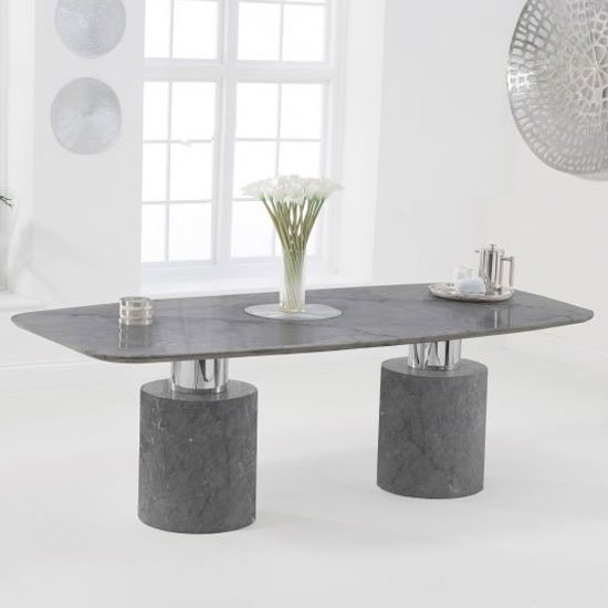 Adolane Small Marble Dining Table In Grey