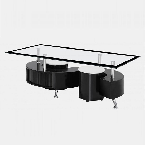 Adelphi Glass Coffee Table In Black High Gloss With 2 Stools