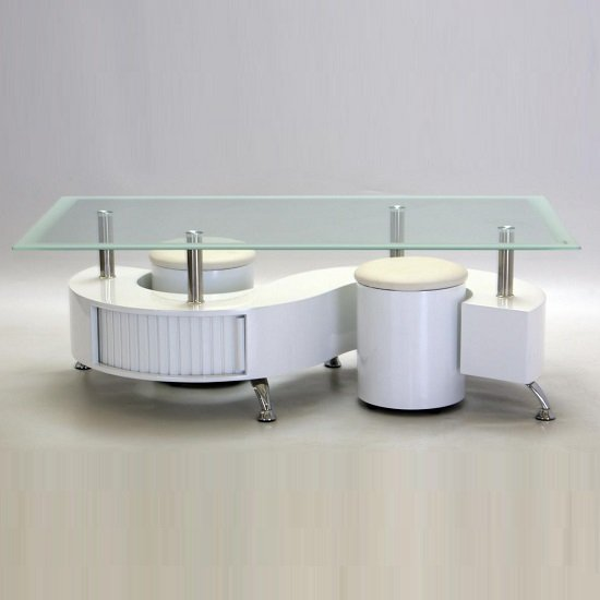 Adelphi Glass Coffee Table In White High Gloss With 2 Stools