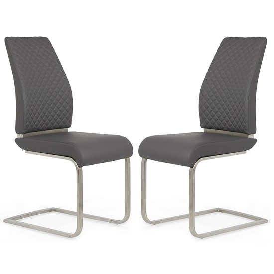 Adene Dining Chair In Grey Faux Leather In A Pair