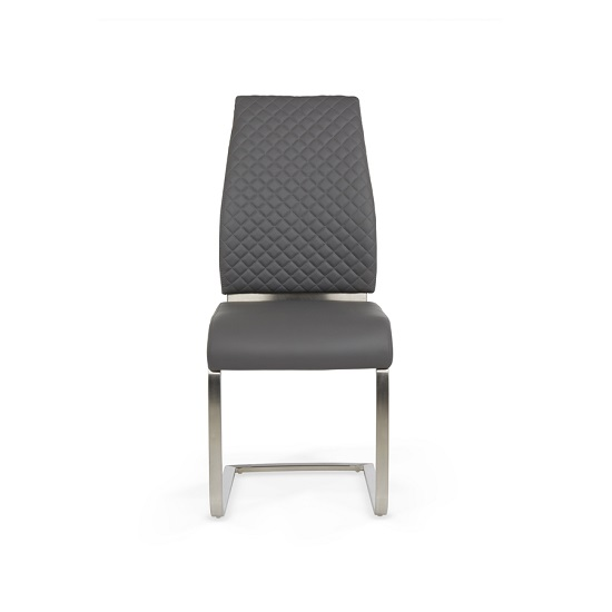 Adene Dining Chair In Grey Faux Leather In A Pair_2
