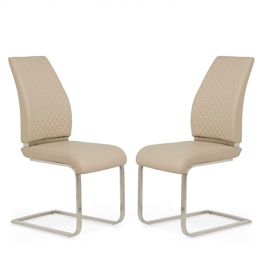 Adene Dining Chair In Taupe Faux Leather In A Pair_1