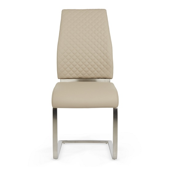 Adene Dining Chair In Taupe Faux Leather In A Pair_2
