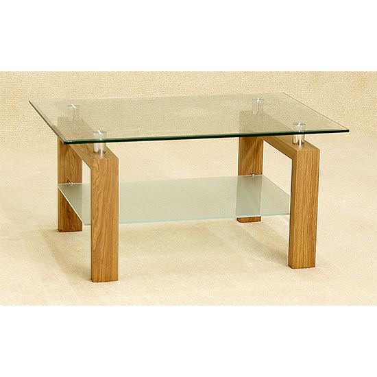 Adina Glass Coffee Table With Oak Legs
