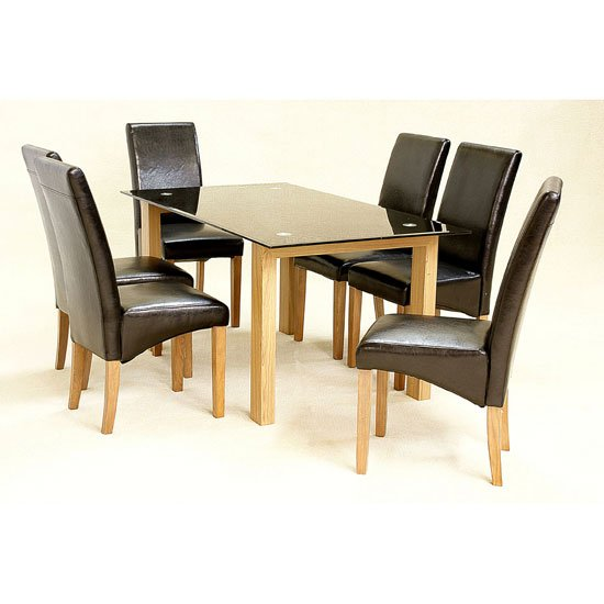 Adina Black Glass Dining Set With 6 Mirage Dining Chairs
