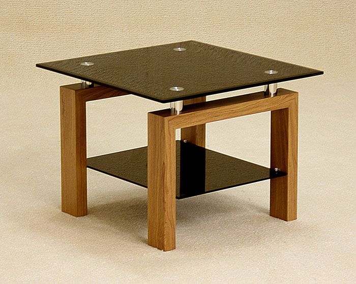 Adina Black Glass Lamp Table with Oak Legs And Undershelf