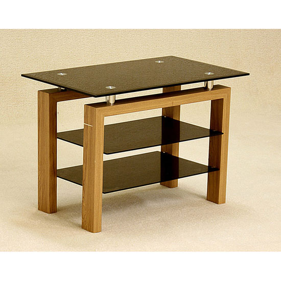 Adina Black Glass TV Stand With Walnut Wooden Legs