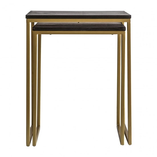 Adisho Black Nest Of 2 Tables With Golden Frame