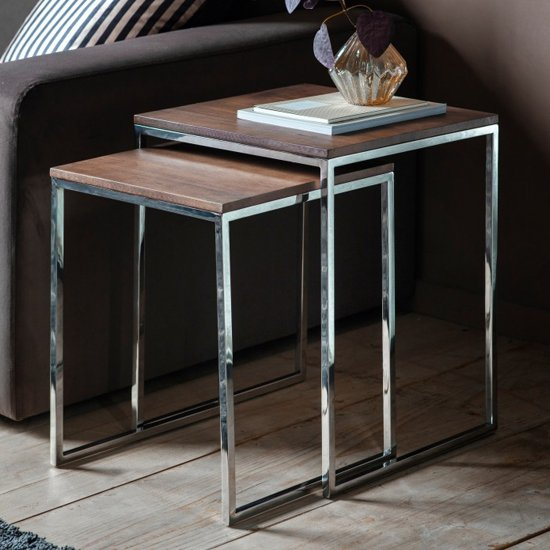 Adisho Walnut Nest Of 2 Tables In Chrome Frame