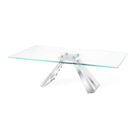 Adkins Clear Glass Coffee Table With Stainless Steel Base