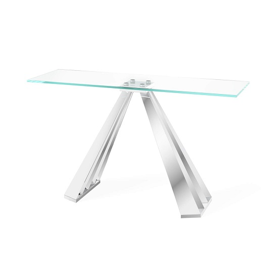 Adkins Clear Glass Console Table With Stainless Steel Base