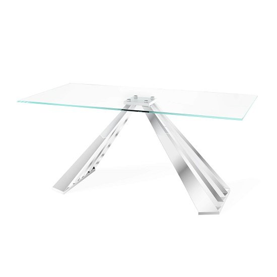 Adkins Clear Glass Dining Table With Stainless Steel Base
