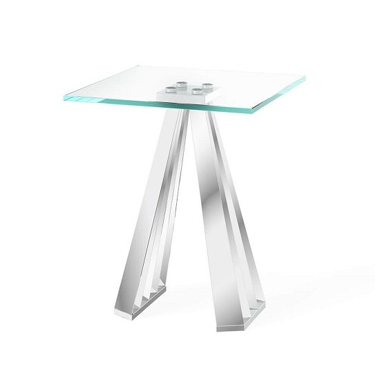 Adkins Clear Glass Side Table With Stainless Steel Base_1