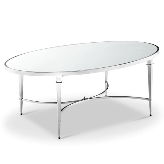 Adley Glass Coffee Table With Chrome Stainless Steel Legs