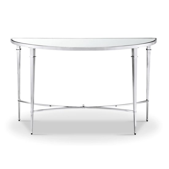 Adley Glass Console Table With Chrome Stainless Steel Legs