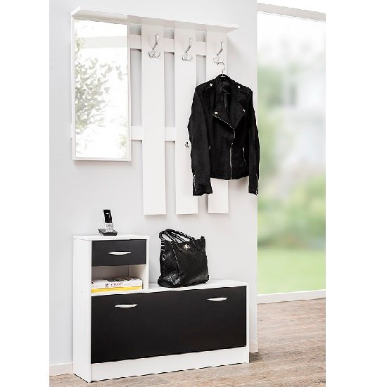 Harrison Hallway Shoe Storage In White And Black
