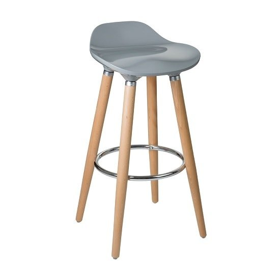 Adoni Modern Bar Stool In Grey ABS With Beechwood Legs
