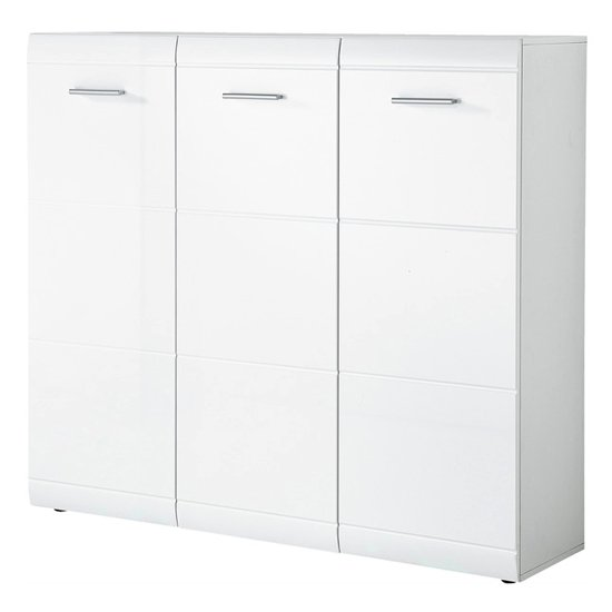 View Adrian large high gloss shoe storage cabinet in white