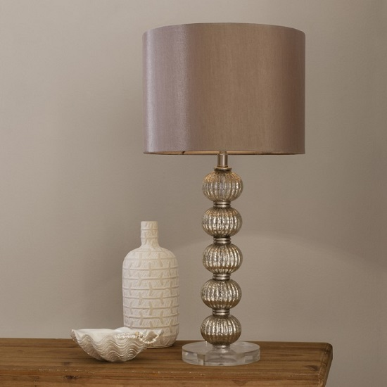Adriana Table Lamp With Dusky Rose Satin Shade