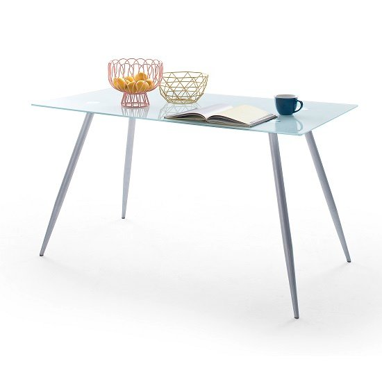 Adriana White Glass Dining Table With Chrome Legs_1