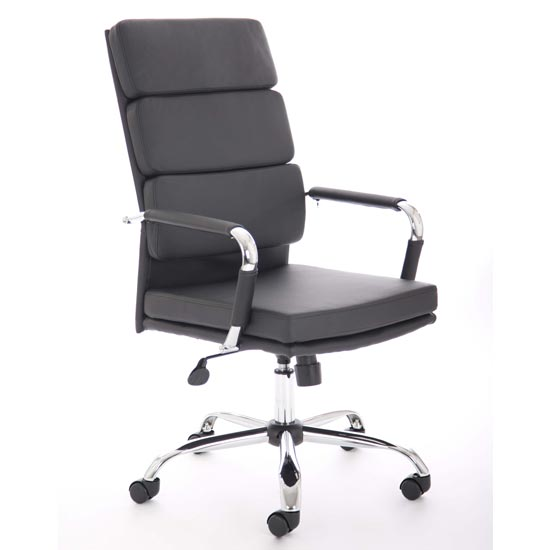 Advocate Leather Executive Office Chair In Black With Arms_1