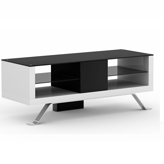 Arcadia Tv Unit Open Fronted  In White And Black Wood With Glass