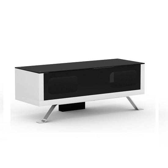 Arcadia White And Black TV Cabinet With Glass Top
