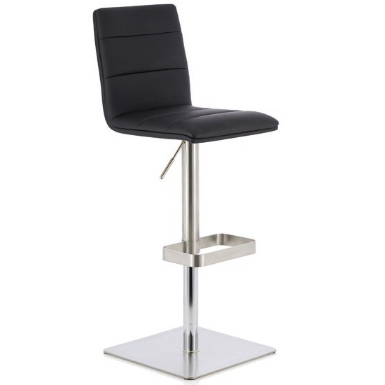 Aerith Bar Stool In Black Faux Leather And Stainless Steel Base