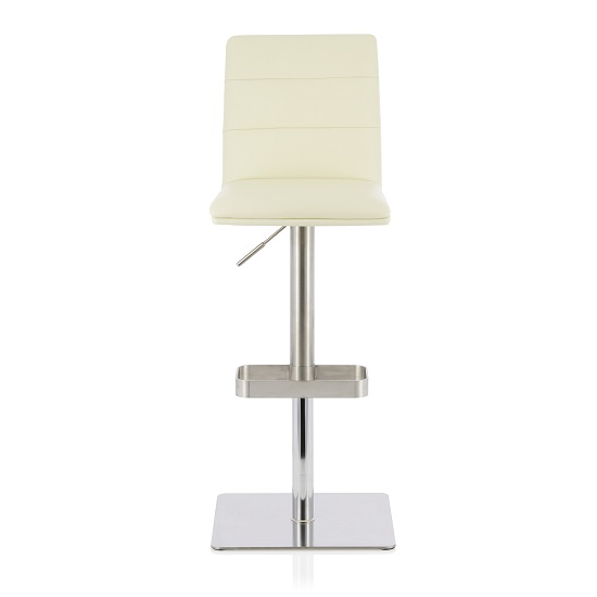 Aerith Bar Stool In Cream Faux Leather And Stainless Steel Base