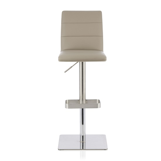 Aerith Bar Stool In Taupe Faux Leather And Stainless Steel Base
