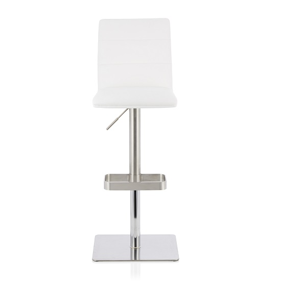 Aerith Bar Stool In White Faux Leather And Stainless Steel Base