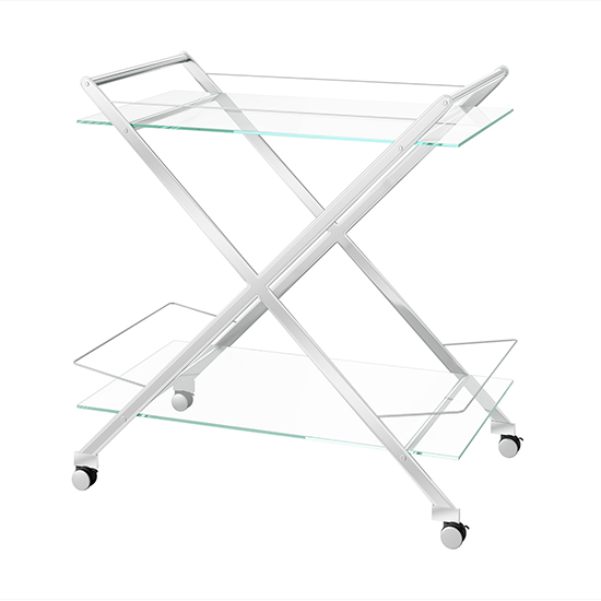 Aero Glass Drinks Trolley With Polished Stainless Steel Frame