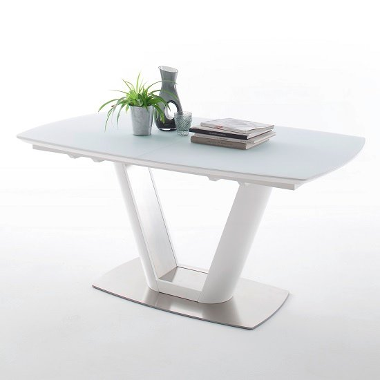 Aeron Glass Extendable Dining Table Boat Shape In Matt White_1