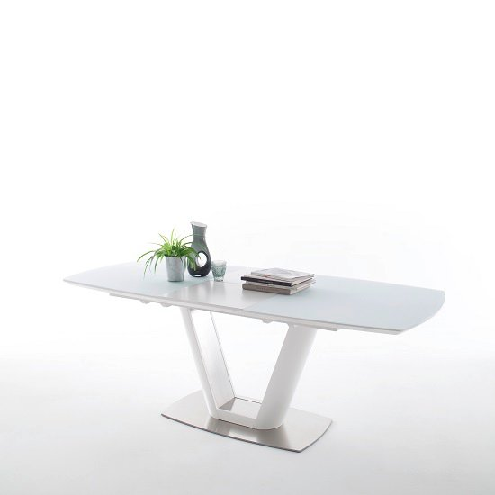 Aeron Glass Extendable Dining Table Boat Shape In Matt White_2