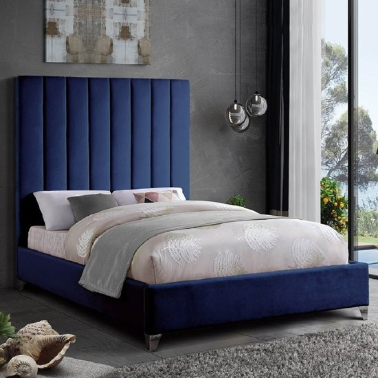 Aerostone Plush Velvet Upholstered King Size Bed In Blue