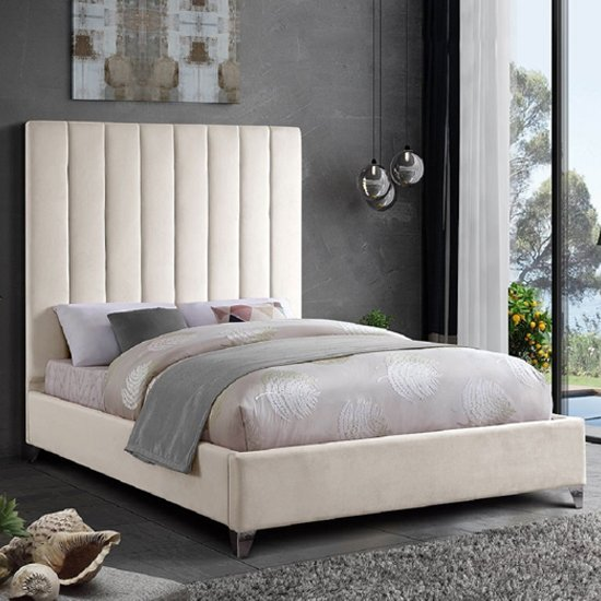 Aerostone Plush Velvet Upholstered Small Double Bed In Cream