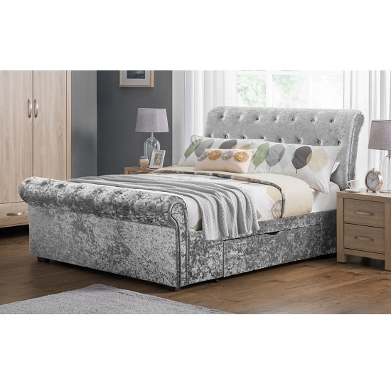 agata double bed in silver crushed velvet with 2 drawers. Black Bedroom Furniture Sets. Home Design Ideas
